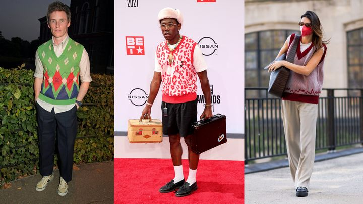Left to right: Eddie Redmayne, Tyler, the Creator and Kendall Jenner.
