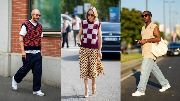 Street style stars showing how to wear a sweater vest.