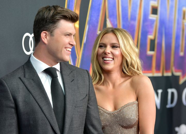 """Colin Jost and Scarlett Johansson attend the world premiere of """"Avengers: Endgame"""" on April 22, 2019, in Los Angeles."""