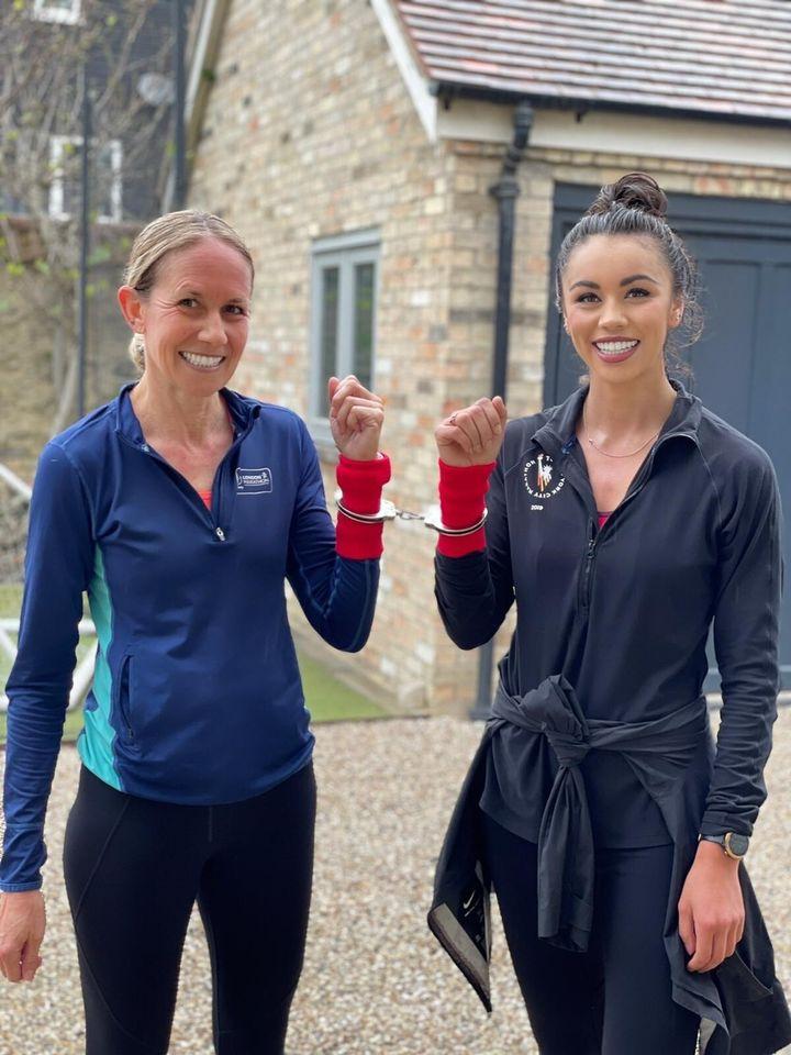 Troi and Kelly preparing for the London Marathon.