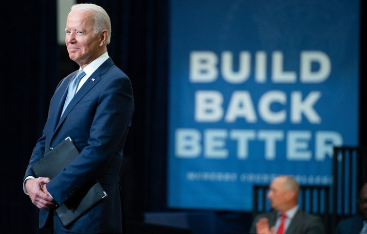 President Joe Biden speaks about his Build Back Better economic plans after touring McHenry County College in Crystal Lake, Illinois, on July 7, 2021.