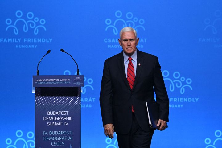Former U.S. Vice President Mike Pence after giving a speech during the fourth Demographic Summit in Budapest, Hungary, on Sep