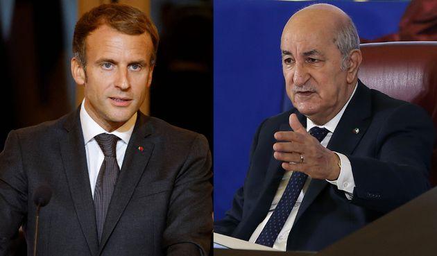 Montage photo du président français Emmanuel Macron et de son homologue algérien Abdelmadjid Tebboune.