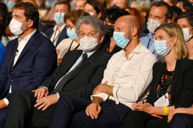 Christophe Castaner, Thierry Breton, Stanislas Guerini et Agnes Pannier-Runacher à l'université de rentrée de LREM ce samedi 2 octobre.