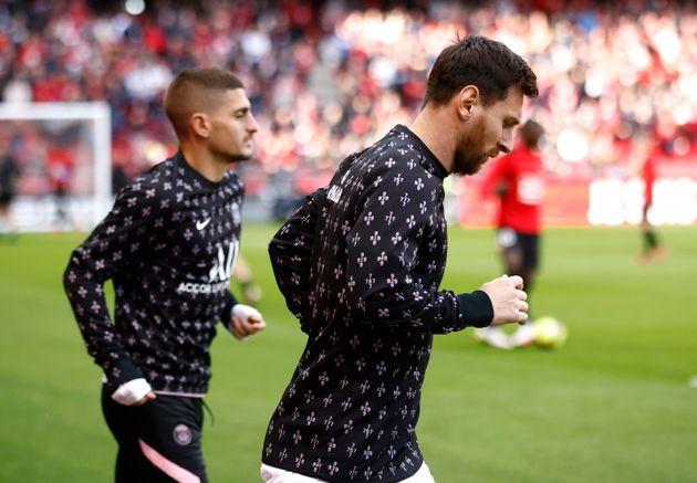 Marco Verratti et Lionel Messi à l'échauffement avant leur match contre Rennes au Roazhon Park en Ligue 1 ce dimanche 3 octobre.