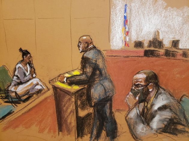 Jane Doe #5 is cross examined by Deveraux Cannick as she testifies during R. Kelly's sex abuse trial...