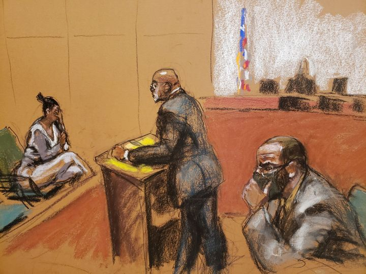 Jane Doe #5 is cross examined by Deveraux Cannick as she testifies during R. Kelly's sex abuse trial at Brooklyn's Federal Di