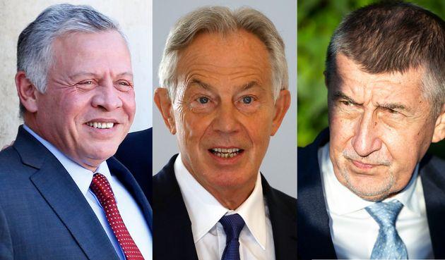 De gauche à droite: le roi de Jordanie Abdallah II, l'ex-Premier ministre Britannique Tony Blair et le Premier ministre tchèque Andrej Babiš.