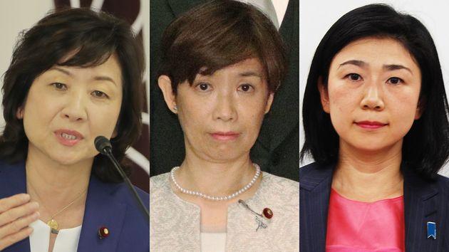 (左から)野田聖子氏、堀内詔子氏、牧島かれん氏