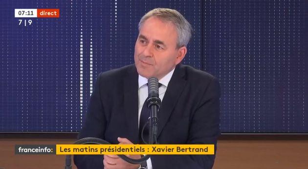Xavier Bertrand sur le plateau de France info ce lundi 4 octobre