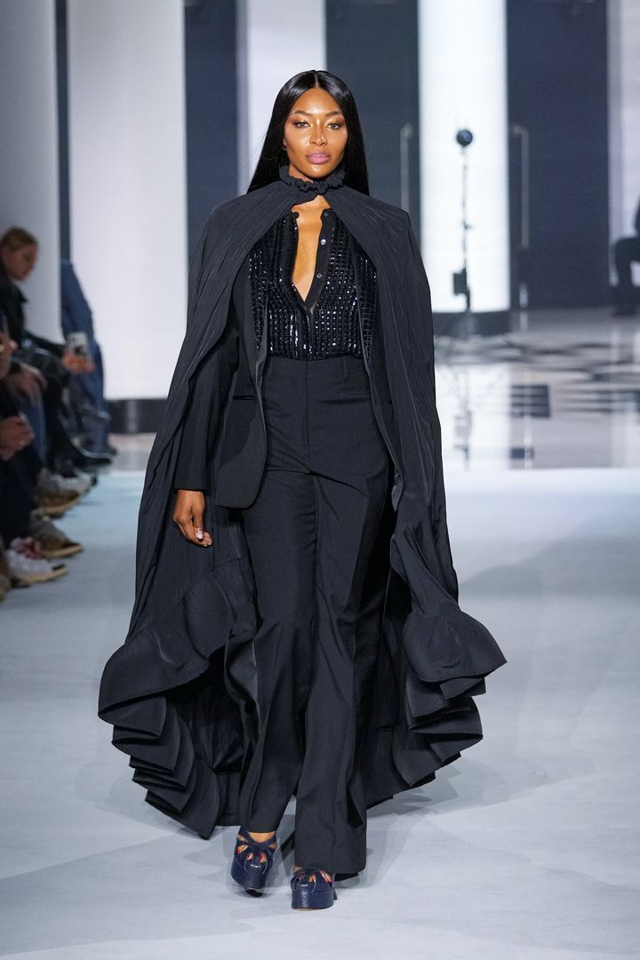 Campbell walks the runway during the Lanvin Womenswear Spring/Summer 2022 show as part of Paris Fashion Week on Oct. 3, in Paris, France.