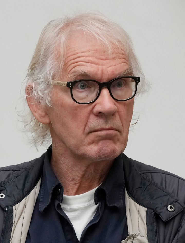 Swedish artist Lars Vilks, who had lived under police protection since making a sketch of the Prophet Muhammad with a dog's body in 2007, died in a weekend crash along with two police bodyguards, police said Monday. He was 75. (AP Photo/Czarek Sokolowski, file)