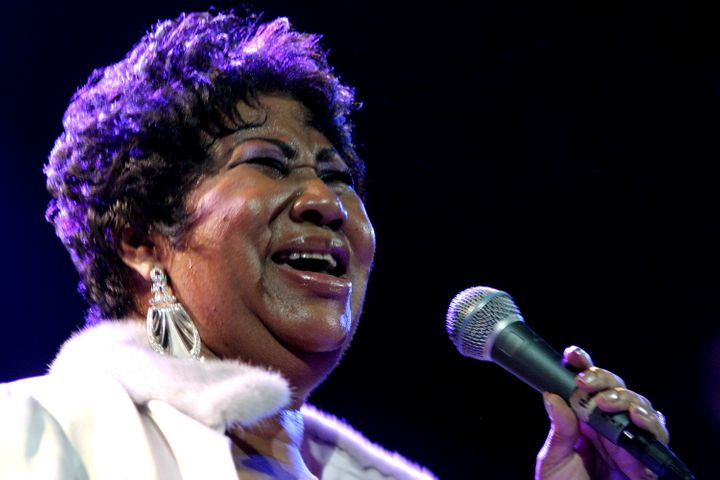FILE - In this Nov. 21, 2008 file photo, Aretha Franklin performs at the House of Blues in Los Angeles. Franklin died Thursday, Aug. 16, 2018 at her home in Detroit. She was 76.(AP Photo/Shea Walsh, file)