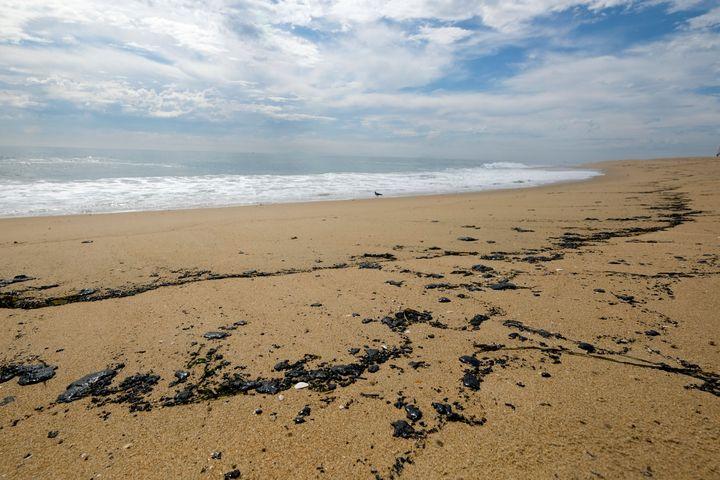 Oil streaks Newport Beach on Monday.