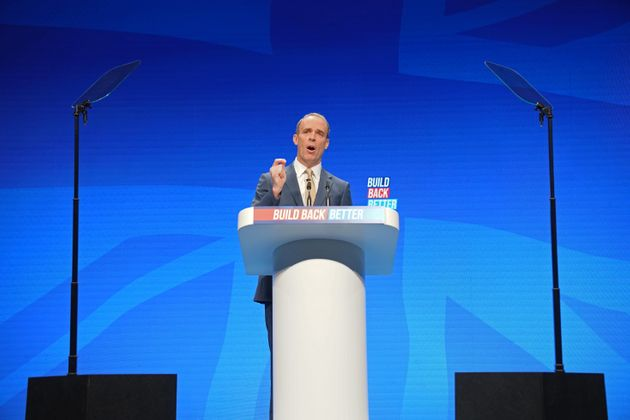 Dominic Raab speaking at the Conservative Party Conference in