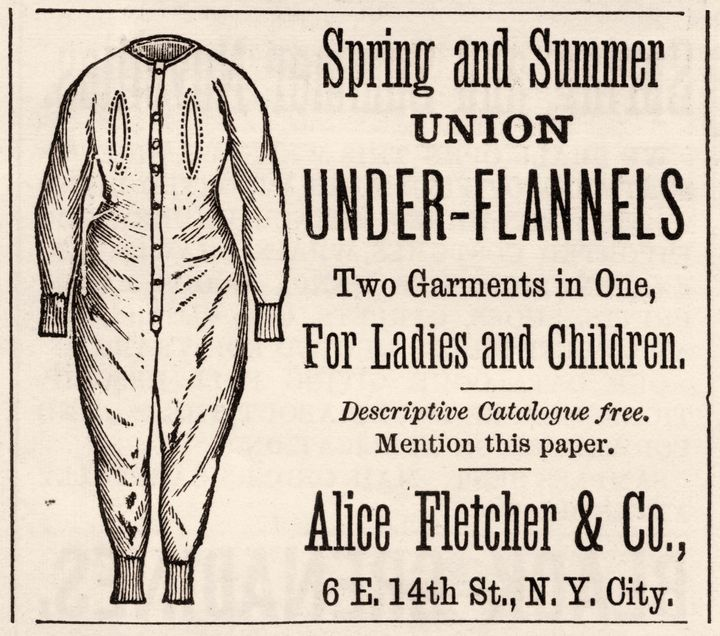 Advertisement for Union Under-Flannels underwear (also known as a union suit). The ad originally appeared in Harper's Bazaar magazine in 1879.