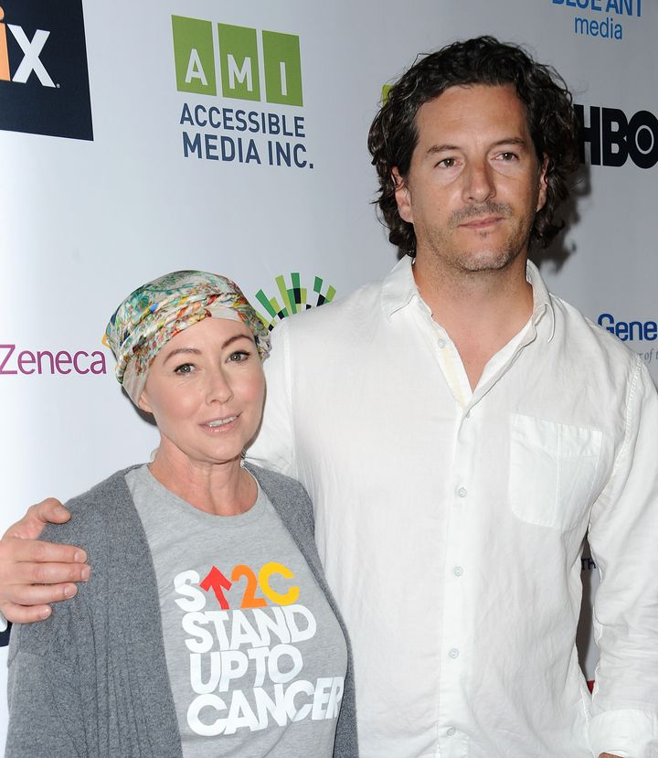 """Shannen Doherty and husband Kurt Iswarienko attend """"Hollywood Unites for the 5th Biennial Stand Up to Cancer"""" in"""