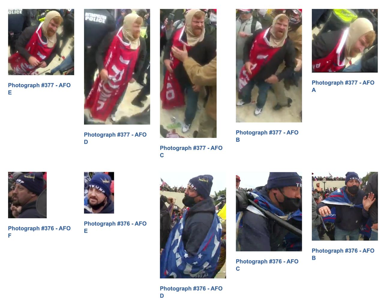 Images on the FBI's website of Trump supporters wanted for assaulting federal officers on Jan. 6.