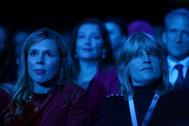 Wife Carrie Johnson and sister Rachel Johnson watch Boris Johnson's
