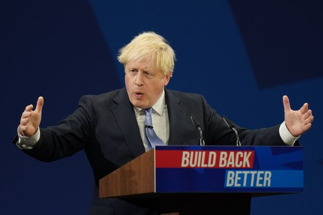 Prime Minister Boris Johnson delivers his keynote speech to the Conservative Party Conference in Manchester....