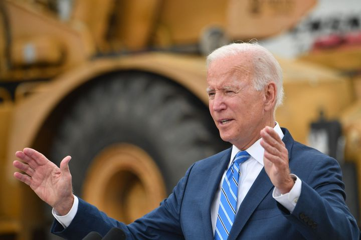 President Joe Biden speaks about the bipartisan infrastructure bill and his Build Back Better agenda at the International Union of Operating Engineers training facility in Howell, Michigan, on Oct. 5.