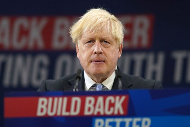 Boris Johnson delivers his leader's keynote speech during the Conservative Party