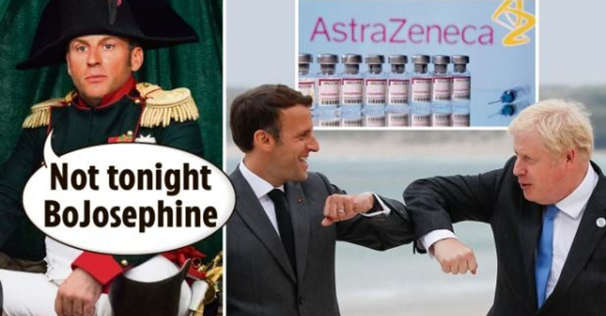 """Accusé d'avoir """"volé"""" des vaccins au Royaume-Uni, Macron dépeint en Napoléon en Une du """"Sun"""""""