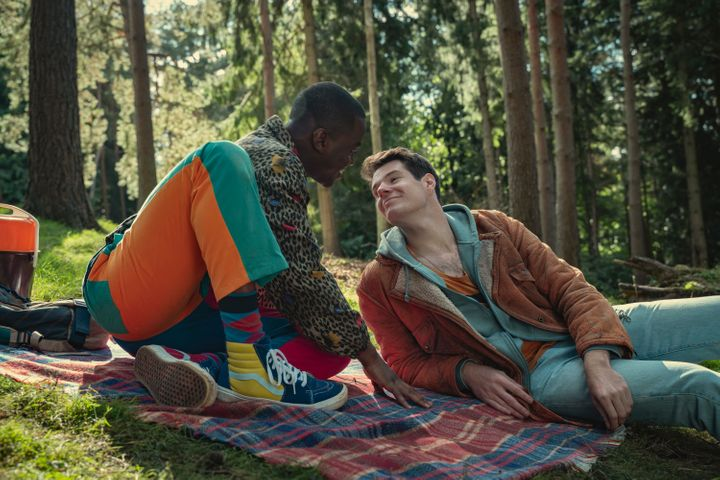 """Ncuti Gatwa plays Eric Effiong and Connor Swindells plays Adam Groff in Episode 2 of """"Sex Education"""" Season 3."""