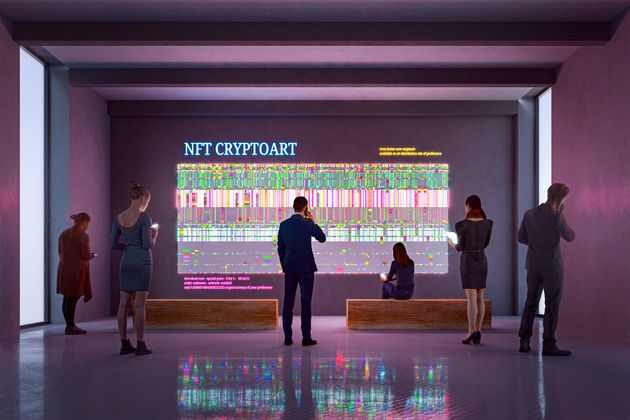 NFT CryptoArt display in art gallery with people using smart phones and digital tablets. Entrirely 3D...