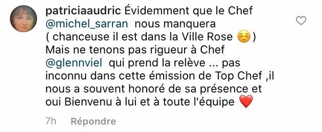 Commentaire sous la photo d'Hélène Darroze