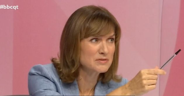 BBC presenter Fiona Bruce interacting with an audience member who did vote for