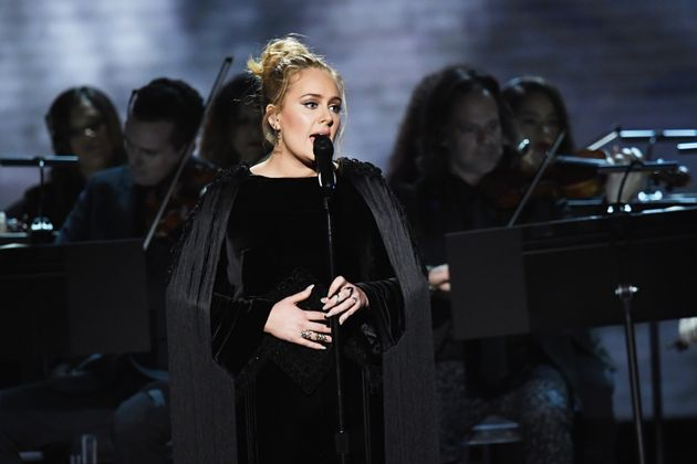 Adele performing at the Grammys in