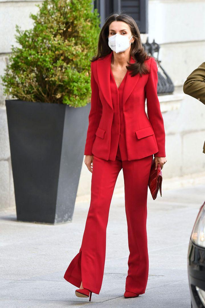 Η Βασίλισσα Λετίσια της Ισπανίας σε εκδήλωση στο Κονγκρέσο της Ισπανίας στην Μαδρίτη τον Απρίλιο του 2021.