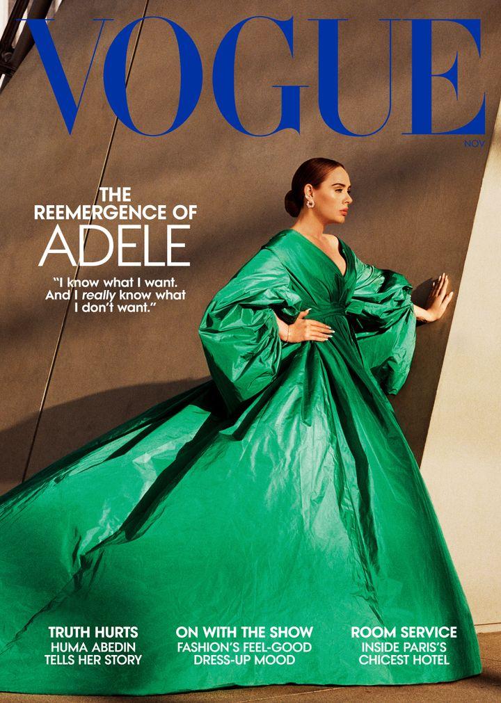 Ο Alasdair Mclellan φωτογραφίζει την Αντέλ για το εξώφυλλο της αμερικανικής Vogue. Η τραγουδίστρια φοράει ένα φόρεμα Valentino Haute Couture με σκουλαρίκια Cartier.