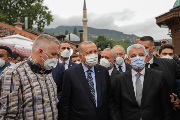 SARAJEVO, BOSNIA AND HERZEGOVINA - AUGUST 27: Turkish President Recep Tayyip Erdogan greets people at...