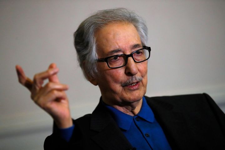 In this photo taken on Jan. 29 2019, former Iranian President, Abolhassan Banisadr, speaks during an interview with the Associated Press in Versailles, west of Paris, France.
