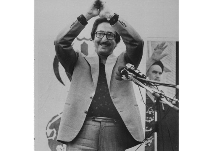 Then Iranian President Abolhassan Banisadr acknowledges cheers after speaking to thousands of Iranians in front of the U.S. Embassy in Tehran, on June 16, 1980.