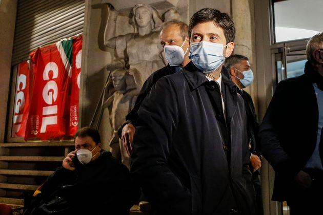 Gesundheitsminister Roberto Speranza in der CGIL-Zentrale am Corso d'Italia, wo heute Morgen ...