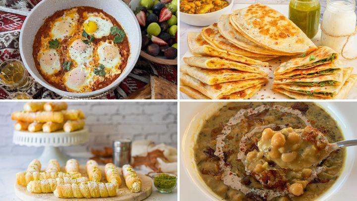 Top left, clockwise: tukhm e banjan rumi, bolani, oogra and cream rolls.