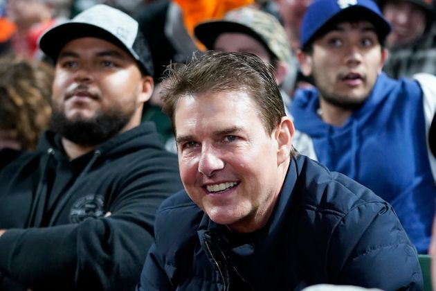 サンフランシスコで行われたジャイアンツとドジャースの試合を観戦していたトム・クルーズ(2021年10月9日撮影)