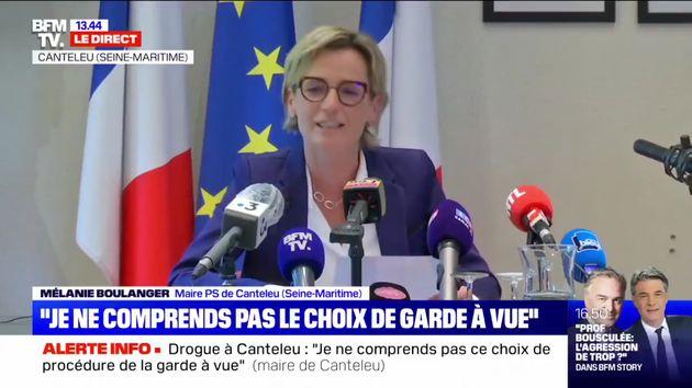 La maire de Canteleu, Mélanie Boulanger, ici lors d'une conférence de presse le 11 octobre 2021.