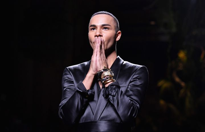 Rousteing is seen on the runway during the Balmain show as part of the Paris Fashion Week Womenswear spring/summer 2017 event on Sept. 29, 2016.
