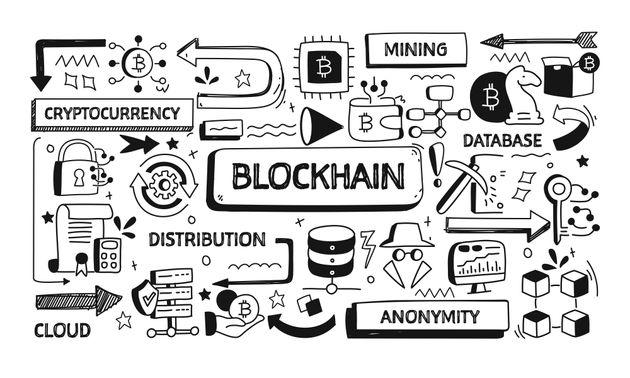 Blockchain Related Doodle Illustration. Modern Design Vector Illustration for Web Banner, Website Header