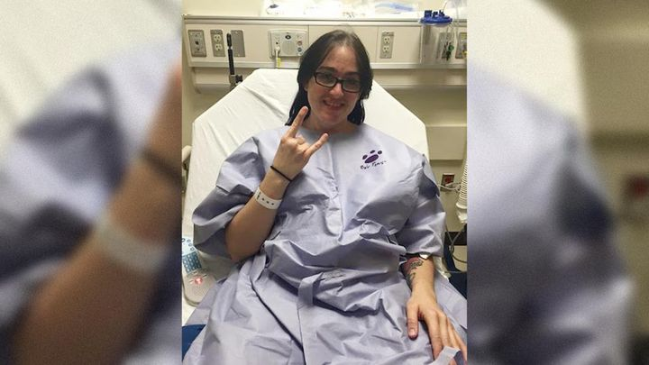 """The author preparing to go in for surgery in October 2015. """"I was unaware that a nurse-in-training was about to stick me eight times to get an IV in."""""""