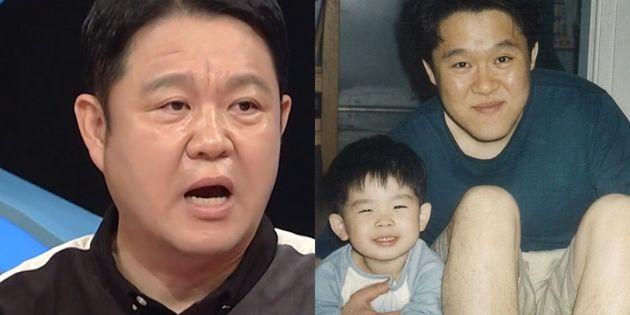 방송인 김구라. 오른쪽은 첫째 아들 그리가 어린 시절에 함께 찍은