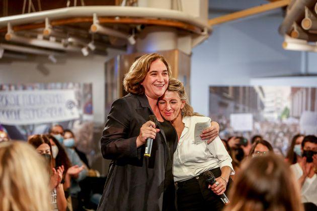 Ada Colau y Yolanda Díaz, el pasado 1 de octubre, en un acto feminista en