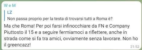 L'invito di un utente ad evitare di andare a Roma per le proteste di