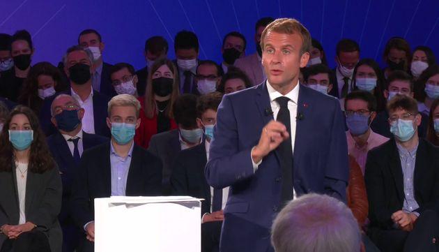 Emmanuel Macron lors de la présentation du plan France 2030, le 12 octobre 2021.