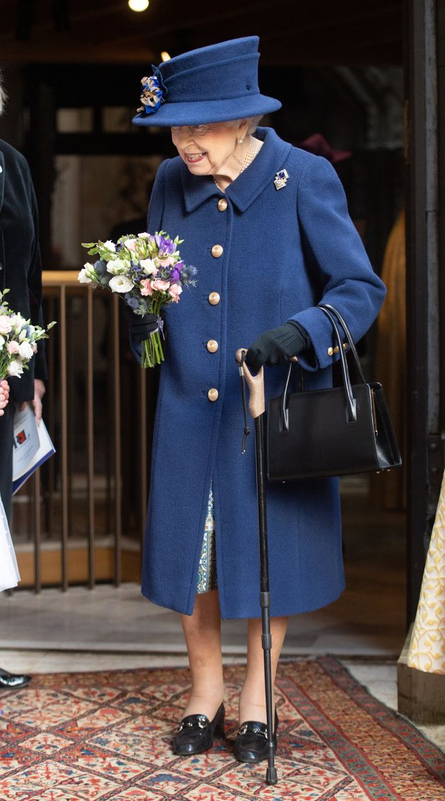 LONDON, ENGLAND - OCTOBER 12: Queen Elizabeth II attends a service of Thanksgiving to mark the centenary...