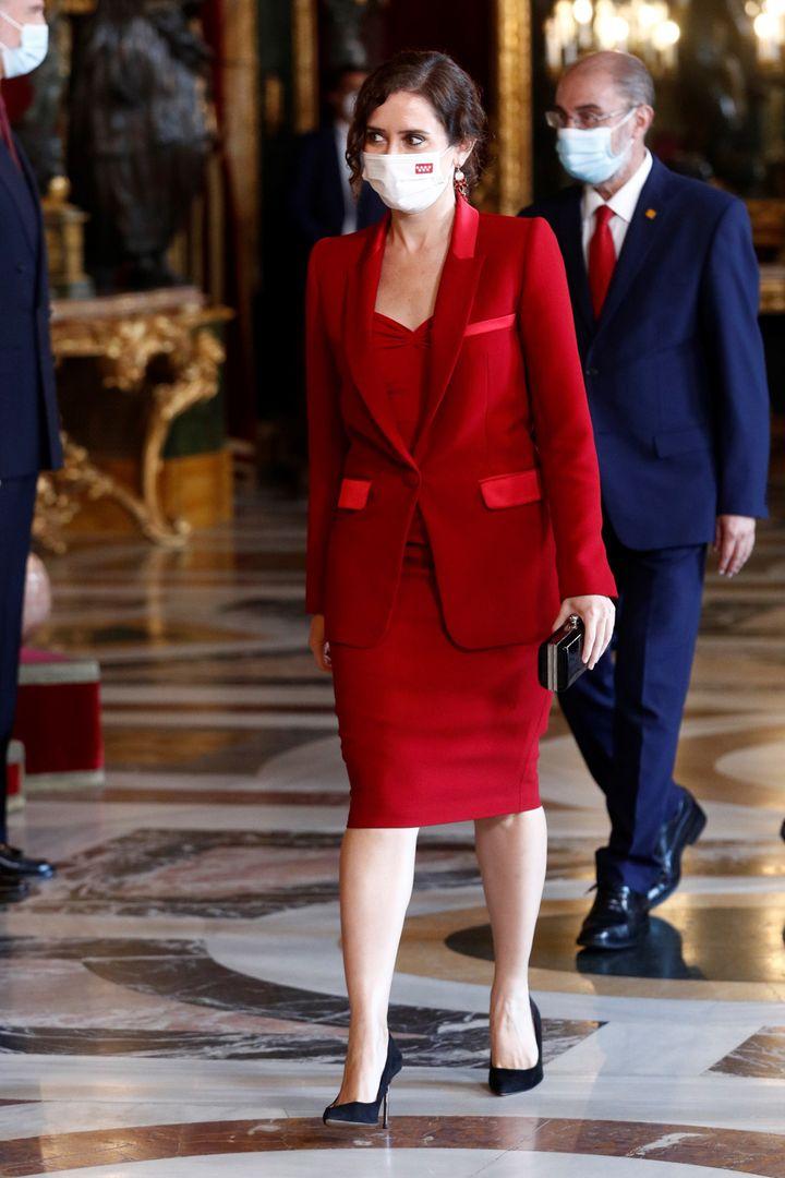 Isabel Diaz Ayuso en la recepción del Palacio Real este 12 de octubre.